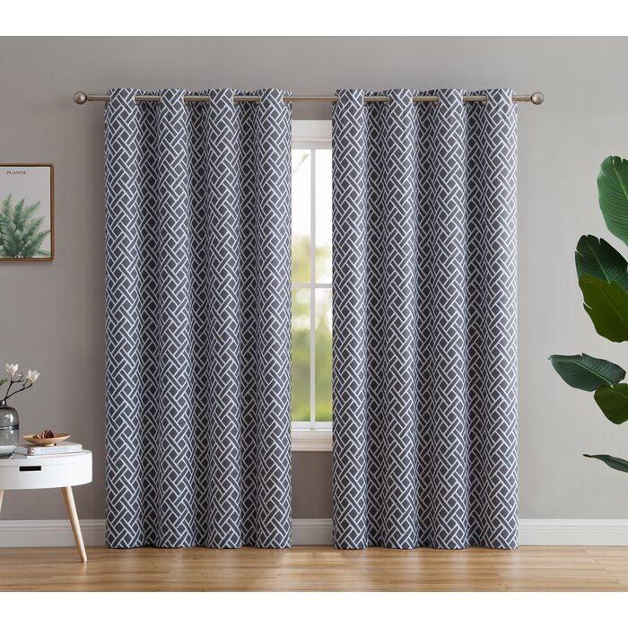 Wirth Basketweave Insulated Window Geometric Blackout Thermal Grommet  Curtain Panels Within Insulated Grommet Blackout Curtain Panel Pairs (View 50 of 50)