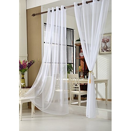 Woltu Vh5510Ws 2 One Pair Of Curtains Transparent Eyelet Throughout Pairs To Go Victoria Voile Curtain Panel Pairs (#30 of 30)