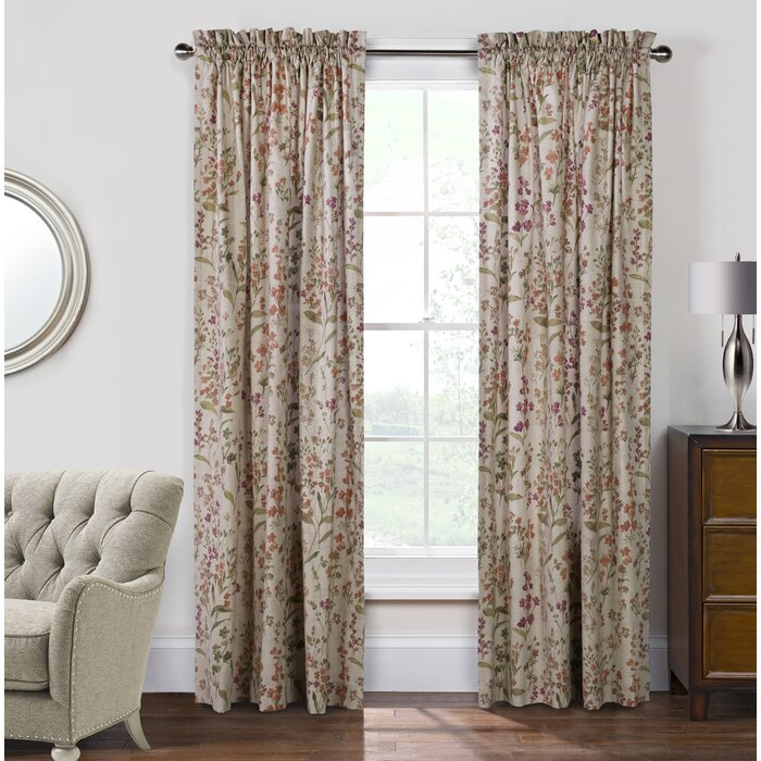 Womack Floral Room Darkening Rod Pocket Curtain Panel Pair Within Floral Pattern Room Darkening Window Curtain Panel Pairs (View 42 of 44)