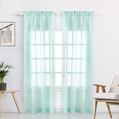 Wontex Faux Linen Aqua Sheer Curtains – Rod Pocket Semi Sheer Voile Curtains For 689830000314 | Ebay Intended For Ombre Faux Linen Semi Sheer Curtains (View 41 of 50)