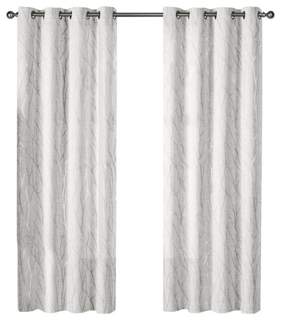 "Woodland Metallic Sheer Grommet Top Curtains, 54""x84"", Winter Silver, Set  Of 2 With Forest Hill Woven Blackout Grommet Top Curtain Panel Pairs (#43 of 45)"