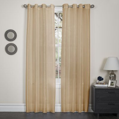 Wrought Studio Randwick Solid Semi Sheer Grommet Single With Regard To Copper Grove Fulgence Faux Silk Grommet Top Panel Curtains (View 50 of 50)