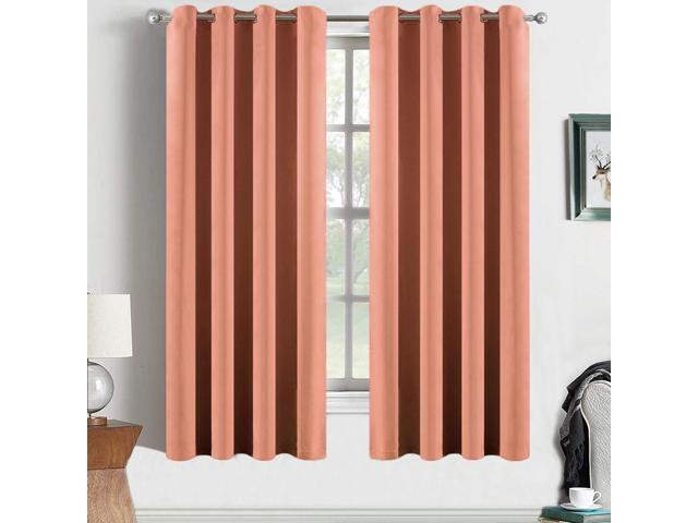 Yakamok Coral Orange Room Darkening Blackout Curtains Thermal Insulated Drapes Solid Grommet Top Window Curtain Panels For Girls' Bedroom, 2 Tie Backs Within Solid Grommet Top Curtain Panel Pairs (View 12 of 35)