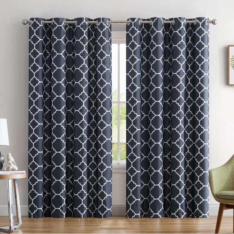 Yeates Moroccan Geometric Max Blackout Thermal Grommet Curtain Panels With Moroccan Style Thermal Insulated Blackout Curtain Panel Pairs (View 5 of 50)