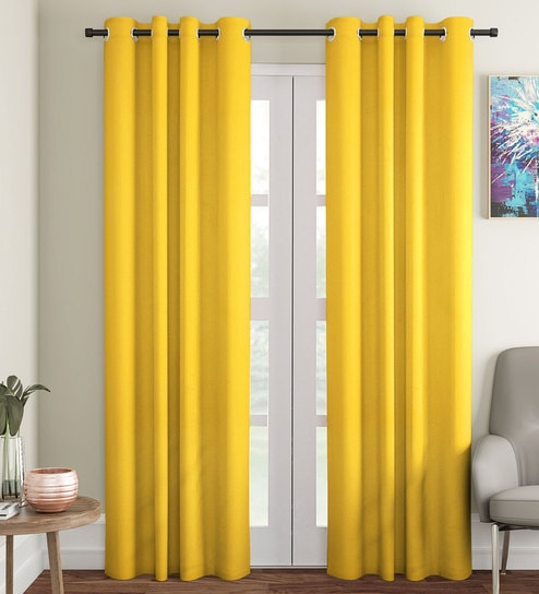 Yellow 100% Cotton Blackout Eyelet Door Curtainsoumya In Solid Cotton True Blackout Curtain Panels (View 42 of 50)
