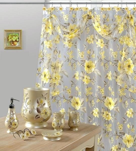 Yellow Curtain 7 Piece Shower Hooks And Resin Browns Linens Pertaining To Copper Grove Speedwell Grommet Window Curtain Panels (#43 of 50)