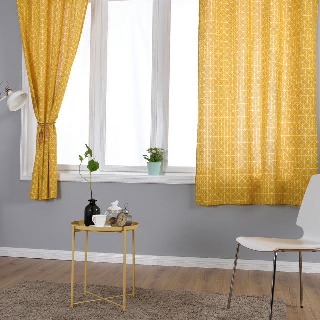 Yellow Linen Cotton Curtains For Living Room Kitchen In Geometric Linen Room Darkening Window Curtains (View 50 of 50)