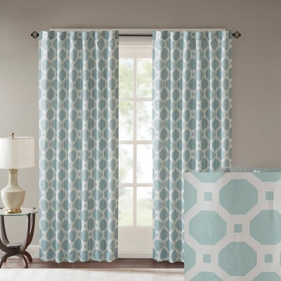 Inspiration about Zera Poly Jacquard Window Panel Aqua (Blue) 50X84 | Products In The Curated Nomad Duane Jacquard Grommet Top Curtain Panel Pairs (#49 of 50)