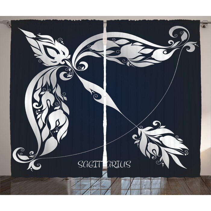 Inspiration about Zodiac Astrology Sign Sagittarius With Flower Images Planetary Impacts On  Nature Graphic Print & Text Semi Sheer Rod Pocket Curtain Panels Inside Vina Sheer Bird Single Curtain Panels (#17 of 38)