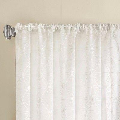 "Zoe Fretwork Burnout Sheer Panel White (50""x84"") Pertaining To Laya Fretwork Burnout Sheer Curtain Panels (View 33 of 38)"