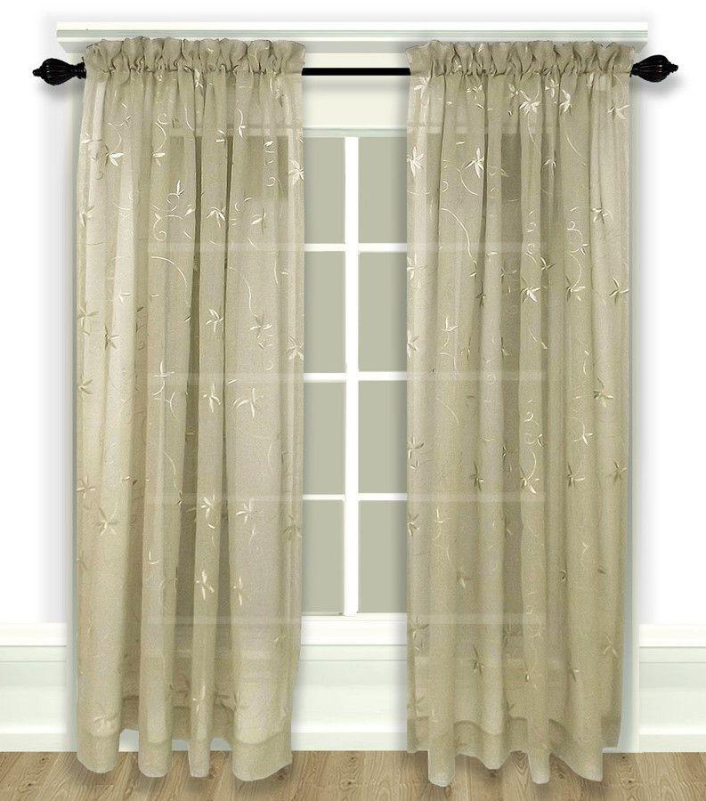 Zurich Embroidered Rod Pocket Curtain Panel – Linen Inside Rod Pocket Curtain Panels (View 34 of 34)