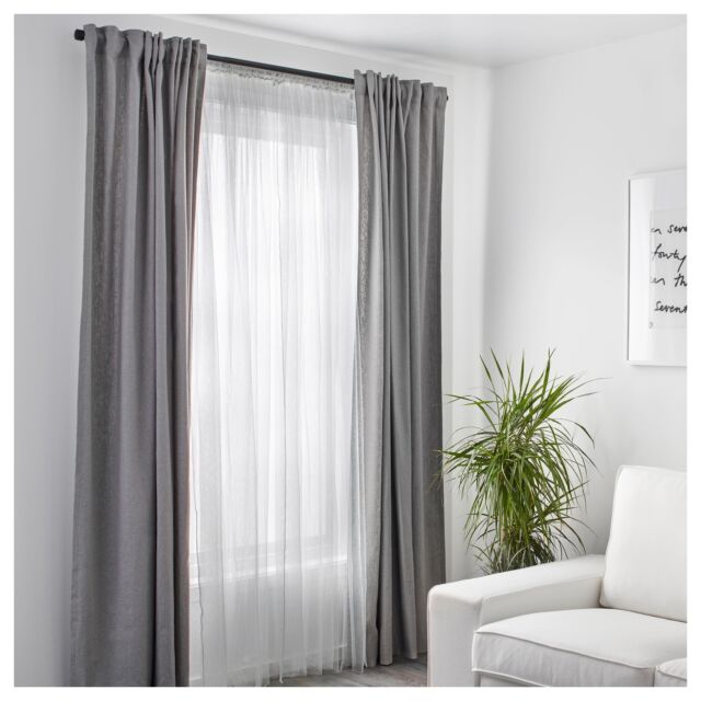 1 Pair Of Ikea Lill White Long Net Curtains Window Lace Sheer Blinds  250X280Cm Throughout Sheer Lace Elongated Kitchen Curtain Tier Pairs (#1 of 30)