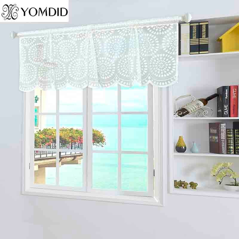 160X50Cm Modern European Style White Jacquard Embroidered Floral Lace Short  Window Curtain Valance Animal Pattern Coffee Kitchen For Coffee Drinks Embroidered Window Valances And Tiers (View 2 of 45)