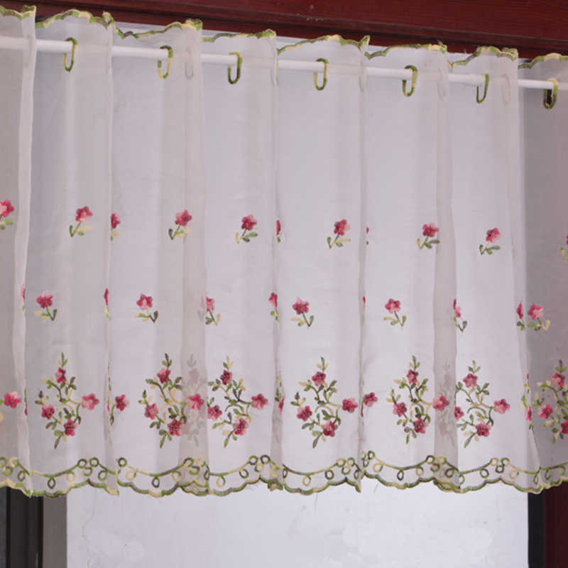 160X50Cm Modern European Style White Jacquard Embroidered Pertaining To Coffee Drinks Embroidered Window Valances And Tiers (View 3 of 45)