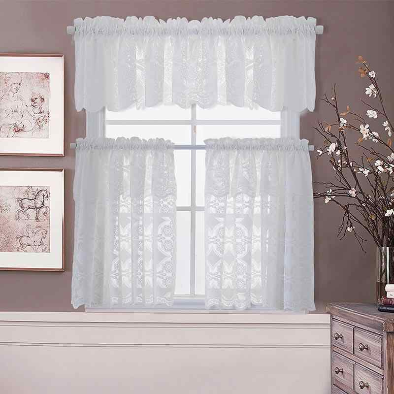 160X50Cm Modern European Style White Jacquard Embroidered With Coffee Drinks Embroidered Window Valances And Tiers (View 4 of 45)