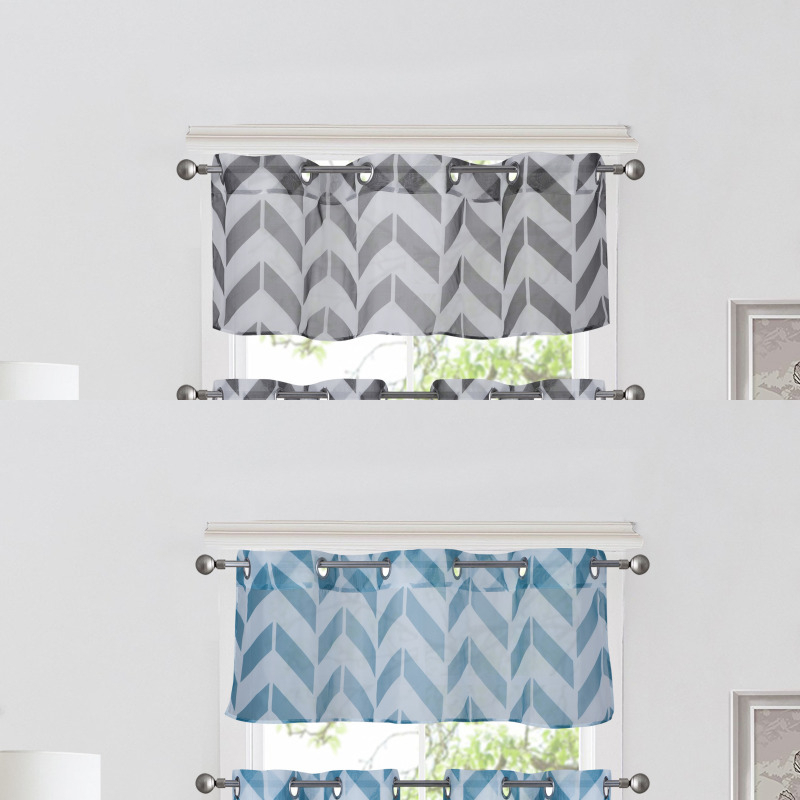 1Pc Chevron Straight Valance Topper Voile Sheer Window For Luxury Light Filtering Straight Curtain Valances (View 25 of 47)