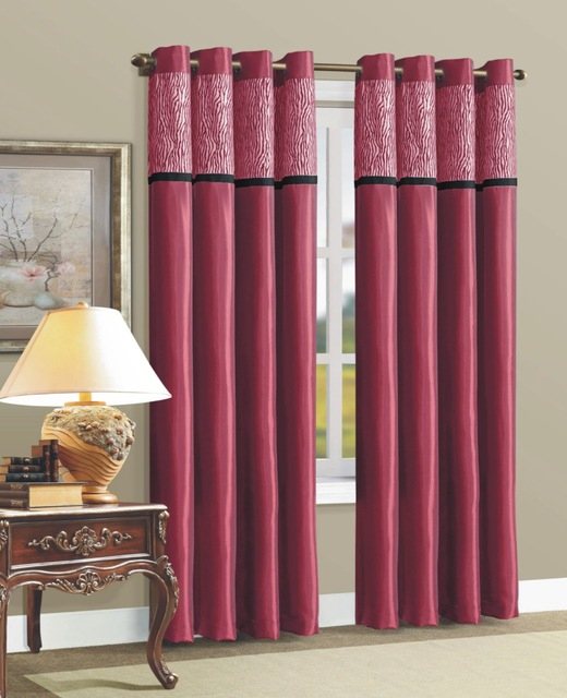 1Pc Faux Silk Solid Panel Curtains Designs With 8 Grommets Living Room  Curtains – Buy Living Room Curtains,silk Curtains,curtain Silk Product On Intended For Faux Silk 3 Piece Kitchen Curtain Sets (View 1 of 44)