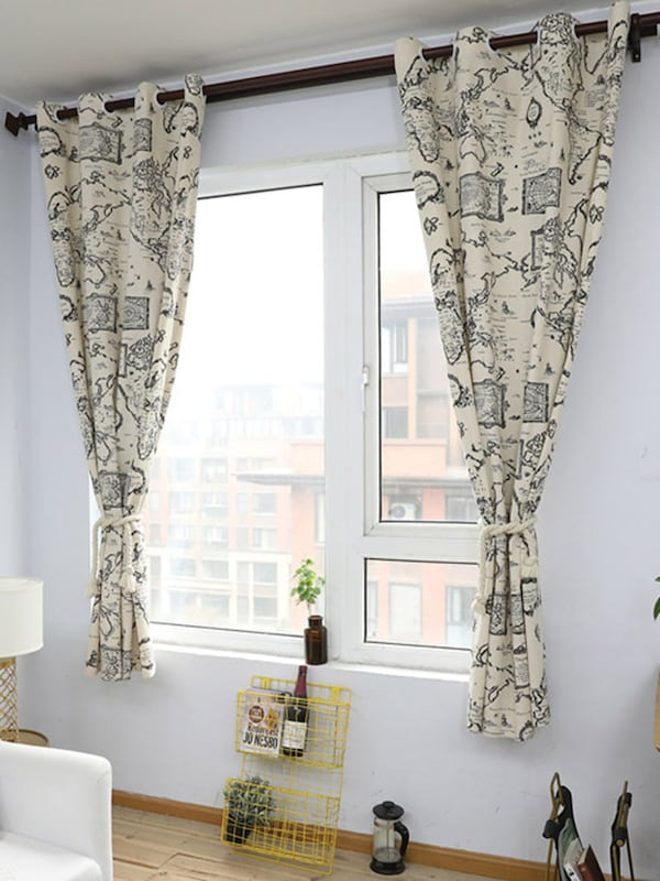 1Pc Living Room Decorative Vintage World Map Cotton Linen Window Curtain  Kids Bedroom Retro Curtain Regarding Cotton Blend Classic Checkered Decorative Window Curtains (View 1 of 30)