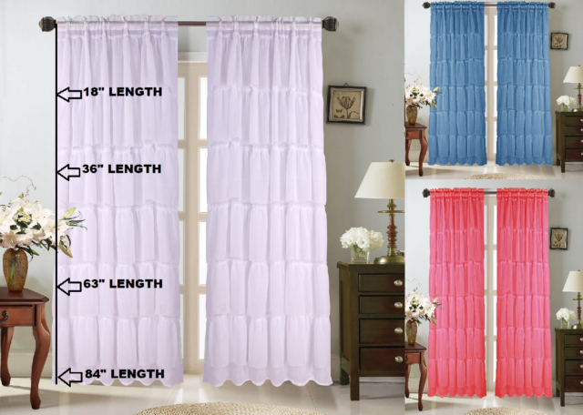 1Pc Voile Sheer Crushed Ruffle Window Dressing Curtain Panel Drape Treatment Pertaining To Elegant Crushed Voile Ruffle Window Curtain Pieces (View 2 of 45)