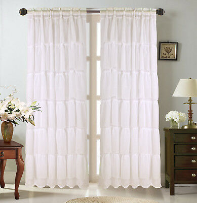1Pc Voile Sheer Crushed Ruffle Window Dressing Curtain Panel Inside Ivory Micro Striped Semi Sheer Window Curtain Pieces (#2 of 50)