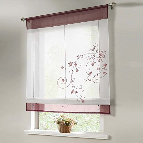 1Pcs Country Style Embroidered Flower Voile Roman Curtain For Embroidered Rod Pocket Kitchen Tiers (View 1 of 49)