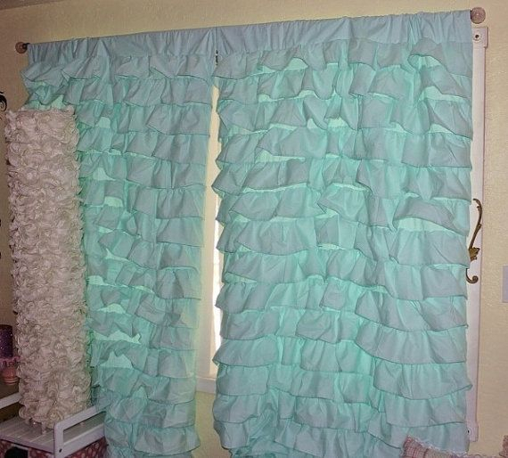 2 Aqua Blue Turquoise Teal Waterfall Ruffled Curtains With Silver Vertical Ruffled Waterfall Valance And Curtain Tiers (View 12 of 50)