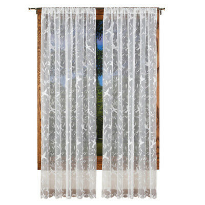 2 Panel Lace Design Window Curtain Shade Window Sheer In Marine Life Motif Knitted Lace Window Curtain Pieces (#3 of 48)