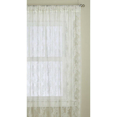 2 Panel Lace Design Window Curtain Shade Window Sheer Regarding Marine Life Motif Knitted Lace Window Curtain Pieces (#6 of 48)