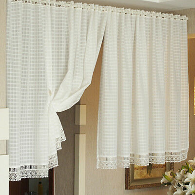 2 Panel Lace Design Window Curtain Shade Window Sheer Regarding Marine Life Motif Knitted Lace Window Curtain Pieces (#5 of 48)