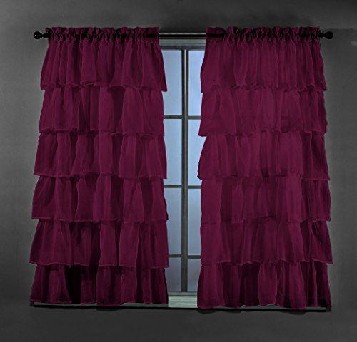 2 Piece Set Solid Burgundy Plum Gypsy Ruffle Sheer Crushed In Elegant Crushed Voile Ruffle Window Curtain Pieces (View 4 of 45)