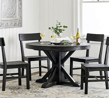 2019 Benchwright Extending Pedestal Dining Table, Blackened Oak Throughout Blackened Oak Benchwright Extending Dining Tables (View 4 of 20)