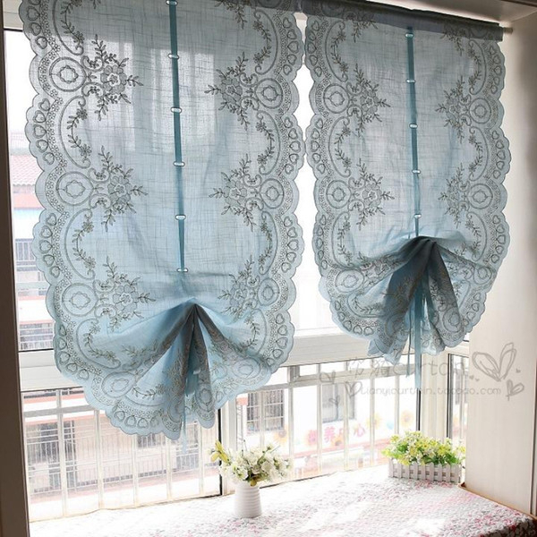 2019 Blue Roman Lift Curtain Balloon Fan Shaped Partition Luxury Curtains For Living Room Valance Blackout Pleated Curtains Drapes From Baolv, $ (View 43 of 50)