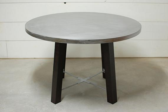 2019 Chapman Round Marble Dining Tables For Round Dining Table, Round Zinc Dining Table, Industrial Dining Table, Zinc  Table Top, Kitchen Table, Industrial Furniture, Zinc, Industrial (#2 of 30)