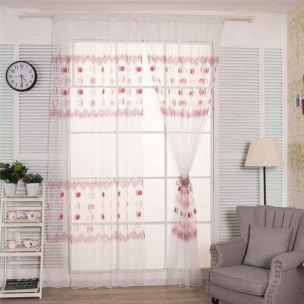 2019 Curtains For Living Room Circle Printed Door Window Tulle Curtain  Drape Panel Sheer Scarf Valances Cortinas Dormitorio B15 From Huojuhua,  $ (View 1 of 30)