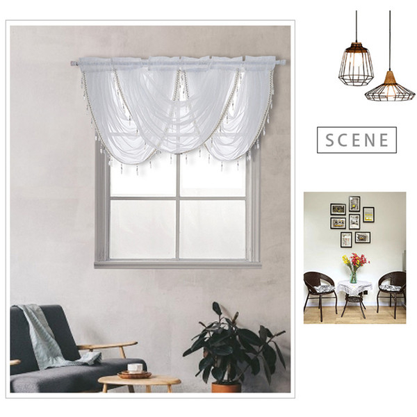 2019 Curtains Polyester Home Waterfall Living Room Window Valance Kitchen Modern Luxury Soft Beaded Decoration Silver Silk Line From Georgely, $ (View 11 of 50)