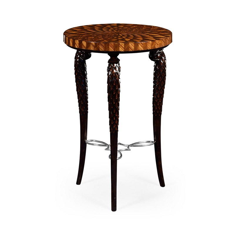 Inspiration about 2019 Icarus Round Bar Tables For Jonathan Charles 495346 Icarus Feather Inlay Glass Top (#18 of 20)