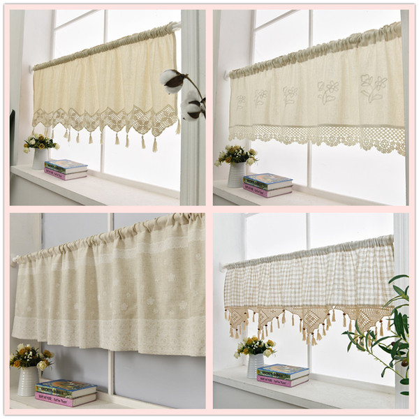 2019 Kitchen Curtain Handmade Embroidered Flower Cafe Curtain Linen Cotton  Lace Window Valance Curtains For Home Decorative From Sophine11, $ (View 1 of 30)