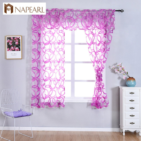 2019 Napearl Kitchen Window Valance And Tiers Geometric Design Organza  Gauze Sheer Short Curtains Endless Pattern Tulle Decor Drapes From Hariold, Intended For Luxurious Kitchen Curtains Tiers, Shade Or Valances (#1 of 50)