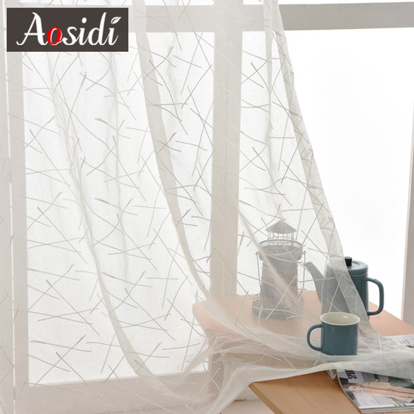 2019 New Geometry White Embroidery Tulle Curtains For The Living Room  Modern Sheer Curtain For Bedroom Window Blind Voile Custom Size From  Icelly, Throughout Embroidered 'coffee Cup' 5 Piece Kitchen Curtain Sets (View 2 of 30)