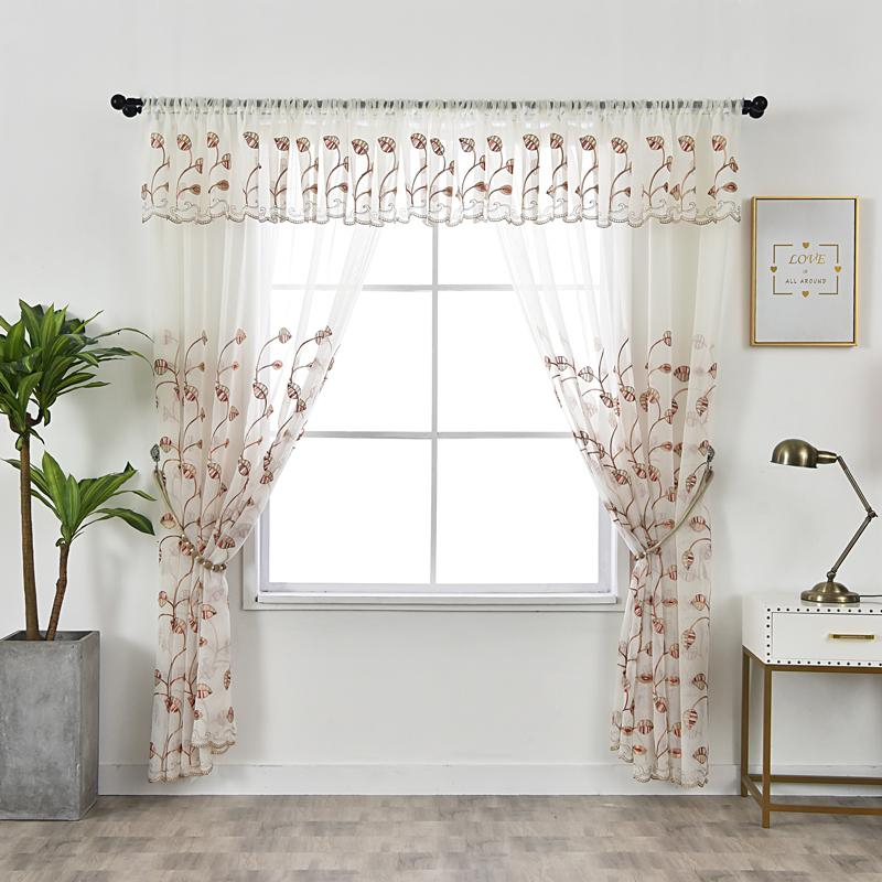 2019 Tulle Kitchen Curtains Rustic Decorations For Home Red Leaves Valance  Window Curtain Living Room Embroidered Pastoral Voile From Herbertw, $ (#1 of 30)