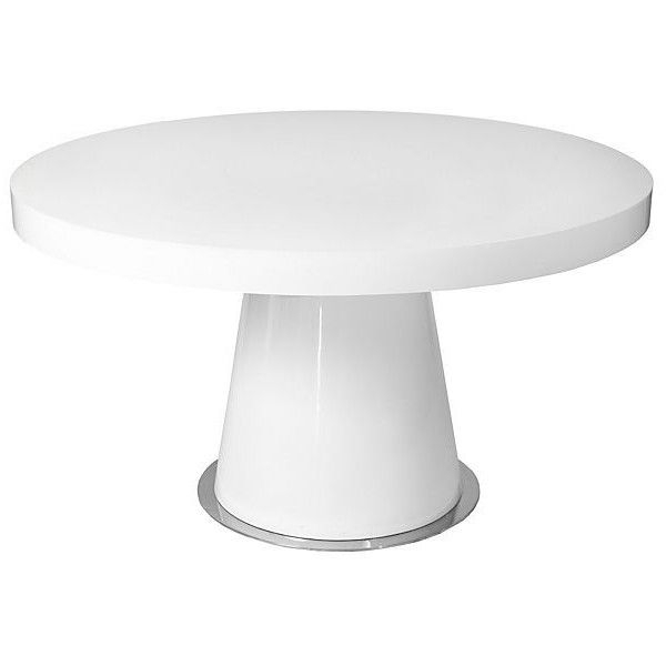 """2020 Cleary Oval Dining Pedestal Tables Regarding Donald 53"""" Round Dining Table White Lacquer ($849) Via (#1 of 20)"""