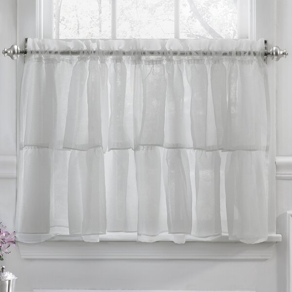 24 Inch Cafe Curtains | Wayfair Regarding Silver Vertical Ruffled Waterfall Valance And Curtain Tiers (View 19 of 50)
