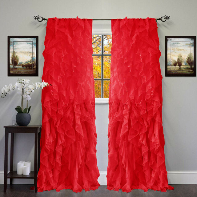 2Pc Cascade Shabby Chic Sheer Ruffled Curtain Panel For Silver Vertical Ruffled Waterfall Valance And Curtain Tiers (View 5 of 50)