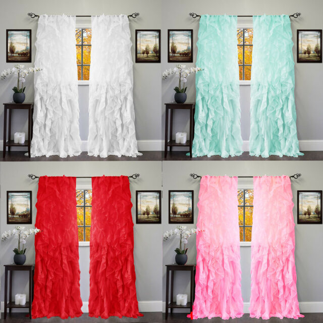 2Pc Cascade Shabby Chic Sheer Ruffled Curtain Panel Inside Silver Vertical Ruffled Waterfall Valance And Curtain Tiers (View 13 of 50)