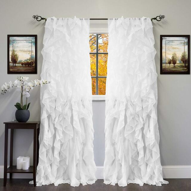 Popular Photo of Silver Vertical Ruffled Waterfall Valance And Curtain Tiers