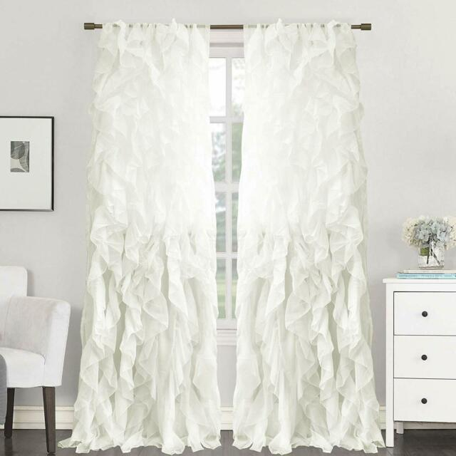 2Pc Cascade Shabby Chic Sheer Ruffled Curtain Panel With Regard To Silver Vertical Ruffled Waterfall Valance And Curtain Tiers (View 22 of 50)