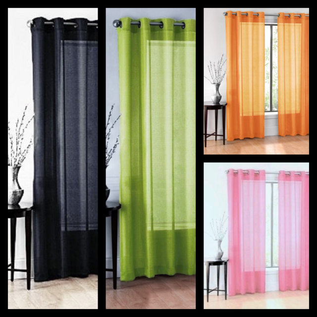 2Pc Solid Sheer Indoor Panel 8 Bronze Grommets Window Curtain Versatile Ruby Inside Elegant Crushed Voile Ruffle Window Curtain Pieces (View 5 of 45)