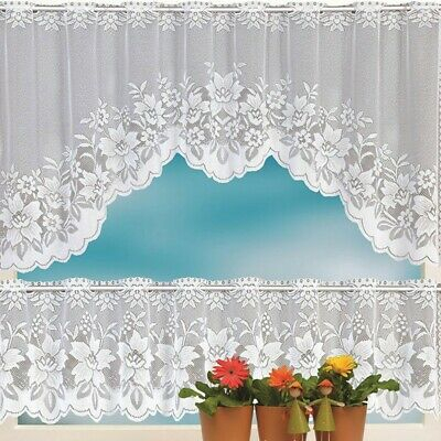 2Pcs Floral Lace Semi Sheer Kitchen Curtain Choice Tier Valance Swag White  | Ebay Inside Floral Embroidered Sheer Kitchen Curtain Tiers, Swags And Valances (View 1 of 50)