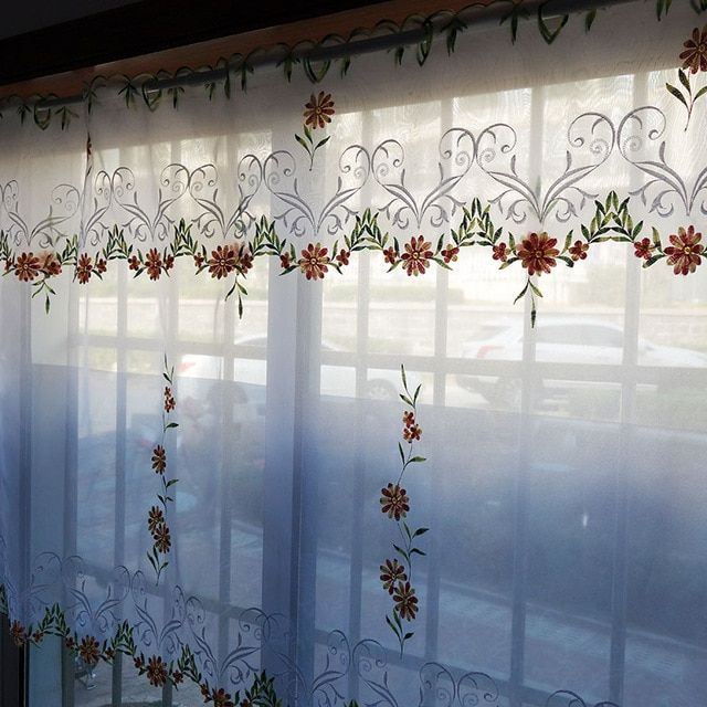 2Pcs/set Pastoral Embroidered Floral Window Door Curtain Within Kitchen Curtain Tiers (View 33 of 50)