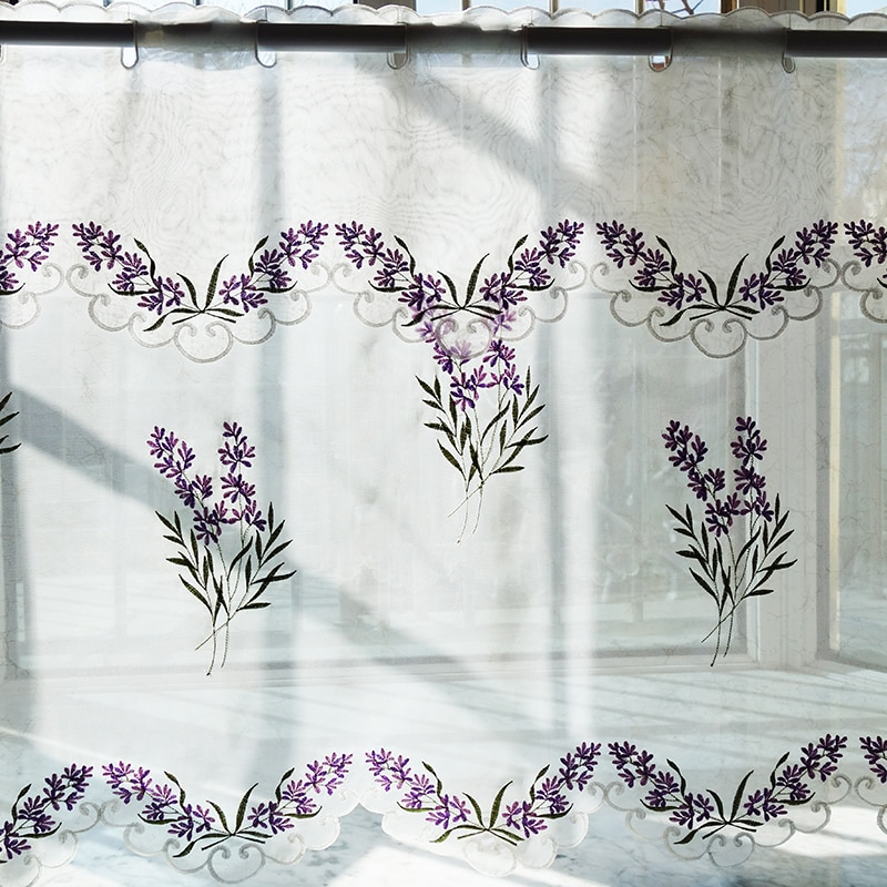 2Pcs/set Pastoral Embroidered Lavender Window Door Curtain Tiers Kitchen Curtain 1 Tiers 1 Valance M562 For Kitchen Curtain Tiers (View 5 of 50)